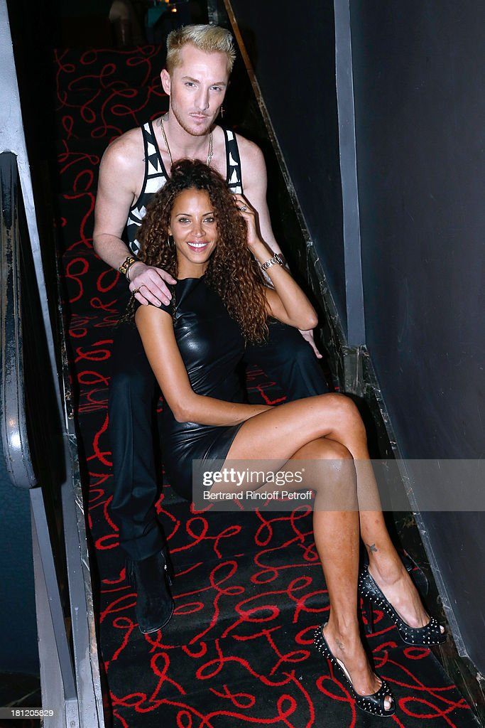 TV presenter of 'Belle toute nue' William Carnimolla with Actress and model Noemie Lenoir who celebrates her 34th birthday at 'A.Club Party' at Castel on September 19, 2013 in Paris, France.