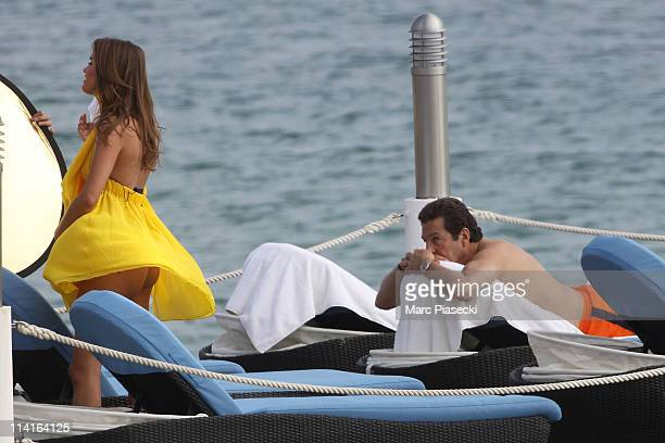 TV presenter of 'Les Anges de la Telerealite' Jeny Priez spotted on the 'Martinez ' hotel beach on May 13 2011 in Golfe Juan France