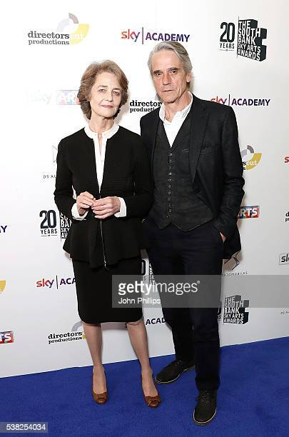 Presenter of the award Jeremy Irons and winner Charlotte Rampling with the Best Film Awards for 45 Years at the The South Bank Sky Arts Awards at The...