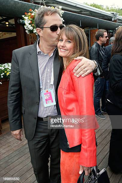 Presenter of the program Telematin on France 2 TV chanel Isabelle Chalencon and her husband Hubert Rivet attend Roland Garros Tennis French Open 2013...