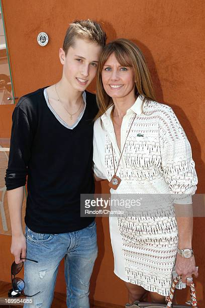 Presenter of the program Telematin on France 2 TV chanel Isabelle Chalencon and her son Benjamin sighting at Roland Garros Tennis French Open 2013 -...