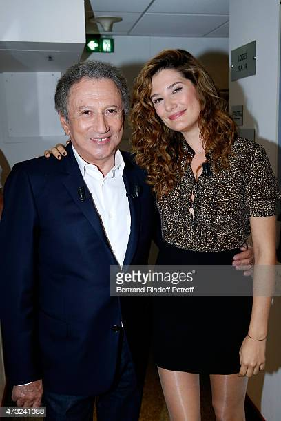 Presenter of the show Michel Drucker and actress Alice Pol attend the 'Vivement Dimanche' French TV Show at Pavillon Gabriel on May 13 2015 in Paris...