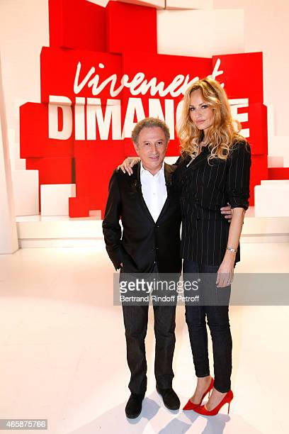 Presenter of the show Michel Drucker and Adriana Karembeu who presents the TV Movie 'Meurtres a Etretat' wich will be diffused on April 20 2015 on...