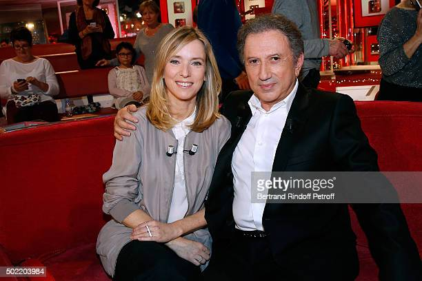 Presenter of the Show Michel drucker and his niece actress Lea Drucker attend the 'Vivement Dimanche' French TV Show at Pavillon Gabriel on December...