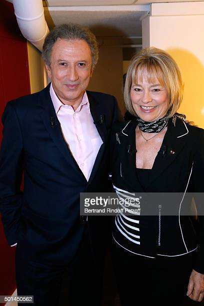 Presenter of the Show Michel Drucker and Martine Monteil who presents her book 'Flic tout simplement' attend the 'Vivement Dimanche' French TV Show...