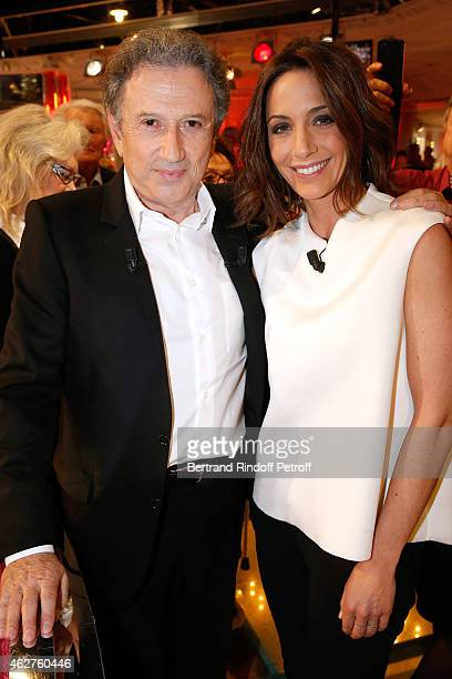 Presenter of the show Michel Drucker and TV Host Virginie Guilhaume who presents the 30th anniversary of 'Victoires de la Musique' wich she will host...