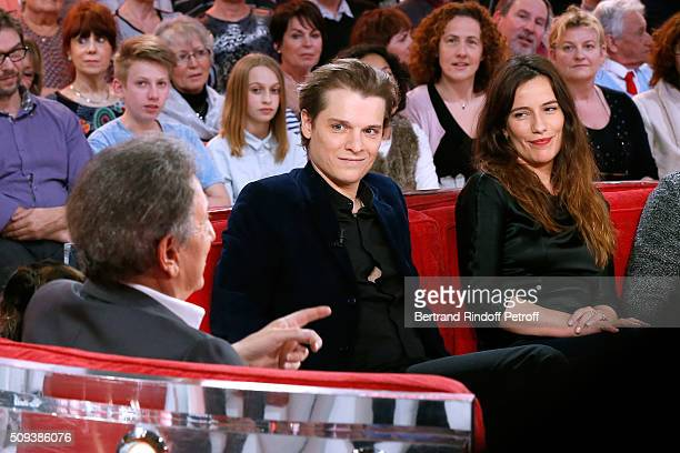 Presenter of the show Michel Drucker with Actors Benabar and Zoe Felix who present the Theater Play 'Je vous ecoute' performed at Theatre Tristan...