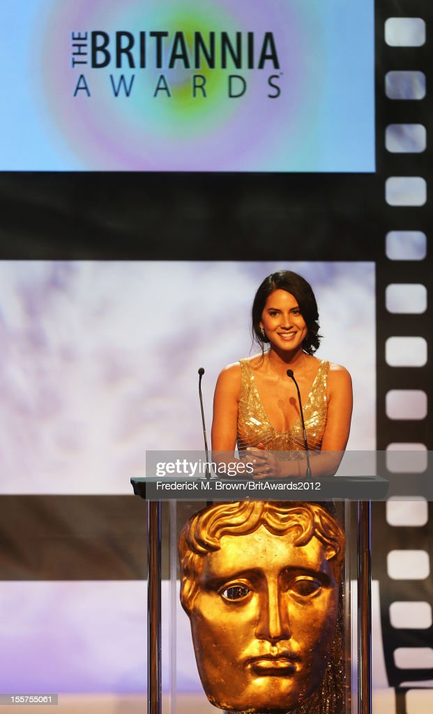 Presenter Olivia Munn speaks onstage at the 2012 BAFTA Los Angeles Britannia Awards Presented By BBC AMERICA at The Beverly Hilton Hotel on November 7, 2012 in Beverly Hills, California.