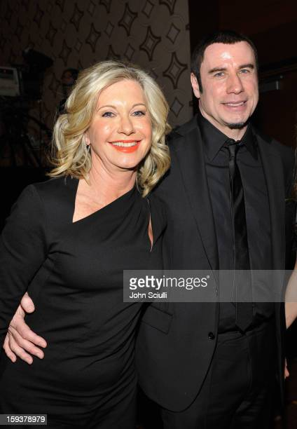 Presenter Olivia NewtonJohn and honoree John Travolta attend the 2013 G'Day USA Los Angeles Black Tie Gala at JW Marriott Los Angeles at LA LIVE on...
