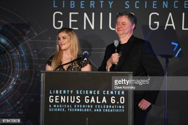 Presenter, Olympic Wrestling Gold Medalist Helen Maroulis and CEO and President of Liberty Science Center Paul Hoffman speak on stage during Genius...