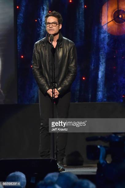 Presenter Pat Monahan of Train speaks onstage at the 32nd Annual Rock Roll Hall Of Fame Induction Ceremony at Barclays Center on April 7 2017 in New...