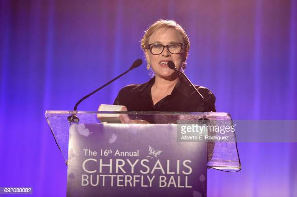Presenter Patricia Arquette speaks onstage at the 16th Annual Chrysalis Butterfly Ball on June 3 2017 in Los Angeles California