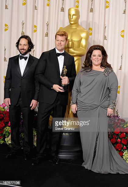 Presenter Paul Rudd, animator John Kahrs and presenter Melissa McCarthy pose in the press room during the Oscars at the Loews Hollywood Hotel on...