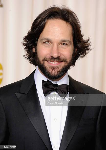 Presenter Paul Rudd poses in the press room during the Oscars at the Loews Hollywood Hotel on February 24, 2013 in Hollywood, California.