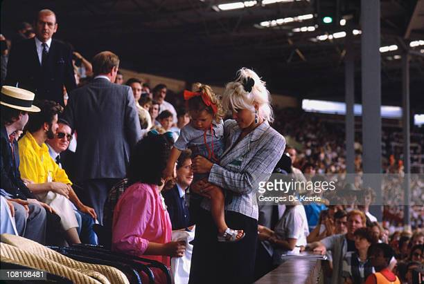 TV presenter Paula Yates finds her place in the audience during the Live Aid concert at Wembley Stadium in London 13th July 1985 The concert raised...