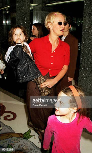 TV presenter Paula Yates holding her daughter Heavenly Hiraani Tiger Lily and with daughter Pixie Geldof at the European movie premiere of 'The...