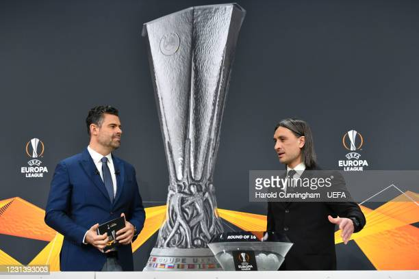 Presenter Pedro Pinto and special guest Hakan Yakin during the UEFA Europa League 2020/21 Round of 16 draw at the UEFA Headquarters, the House of...