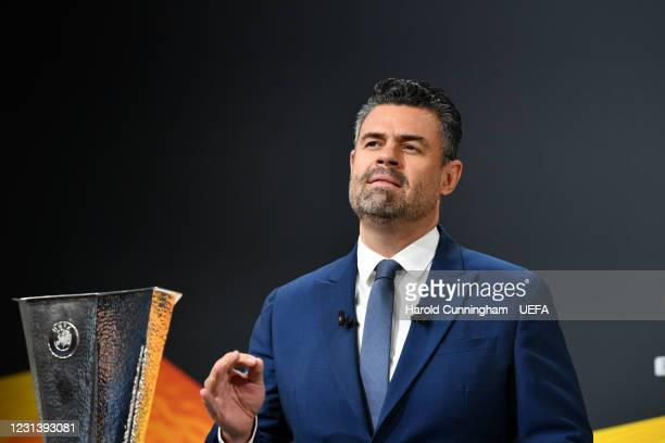 Presenter Pedro Pinto during the UEFA Europa League 2020/21 Round of 16 draw at the UEFA Headquarters, the House of European Football, on February 26...