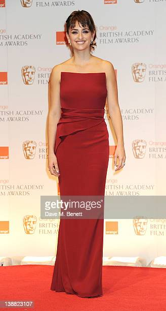 Presenter Penelope Cruz poses in the press room at the Orange British Academy Film Awards 2012 at The Royal Opera House on February 12 2012 in London...