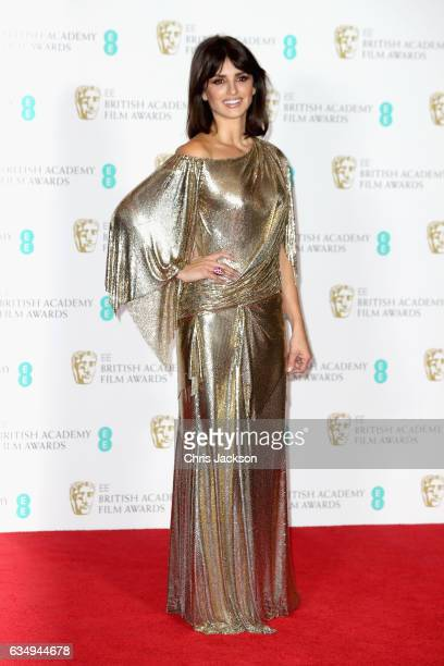 Presenter Penelope Cruz poses in the winners room during the 70th EE British Academy Film Awards at Royal Albert Hall on February 12 2017 in London...