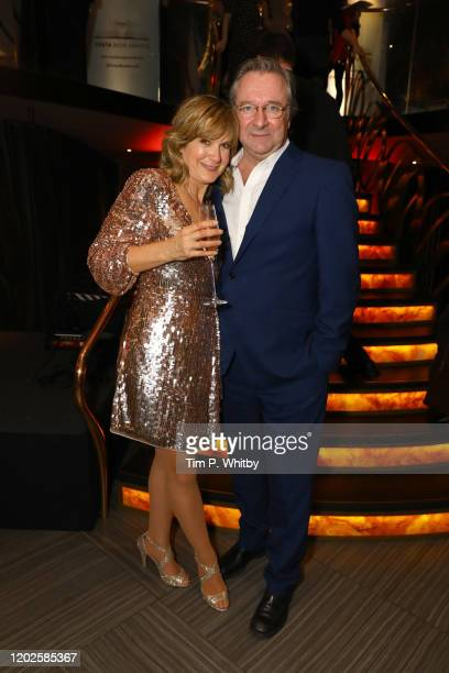 Presenter Penny Smith and Neil Pearson pictured tonight at the Costa Book Awards at Quaglino's on January 28 2020 in London England