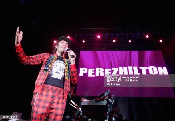 Presenter Perez Hilton speaks onstage during the Perez Hilton Music Showcase 2013 SXSW Music Film Interactive Festival at Austin Music Hall on March...