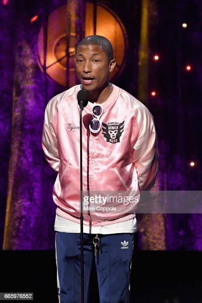 Presenter Pharrell Williams speaks onstage at the 32nd Annual Rock Roll Hall Of Fame Induction Ceremony at Barclays Center on April 7 2017 in New...