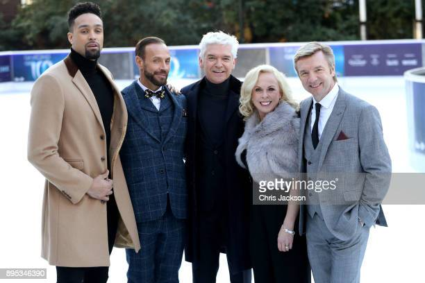 Presenter Phillip Schofield poses with judges Ashley Banjo Jason Gardiner Karen Barber and Christopher Dean during the Dancing On Ice 2018 photocall...