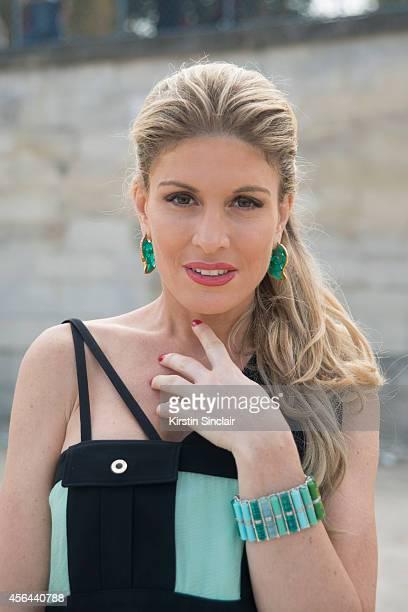 Presenter Producer Spokesmodel and Entrepreneur Hofit Golan is wearing an Emanuel Ungaro dress on day 7 of Paris Collections Women on September 29...