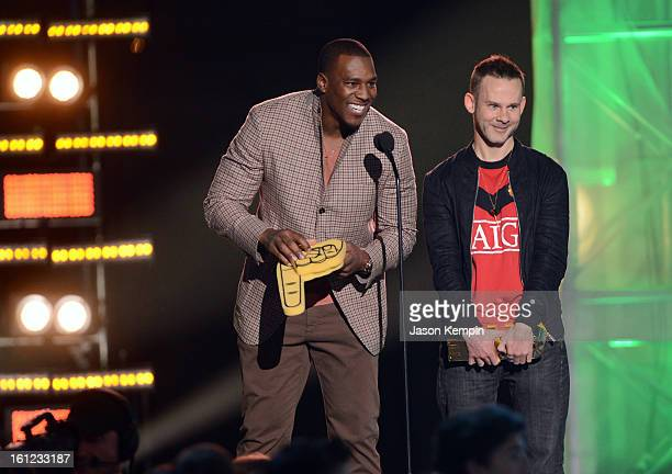 Presenter professional football player Antonio Gates and presenter Dominic Monaghan attend the Third Annual Hall of Game Awards hosted by Cartoon...