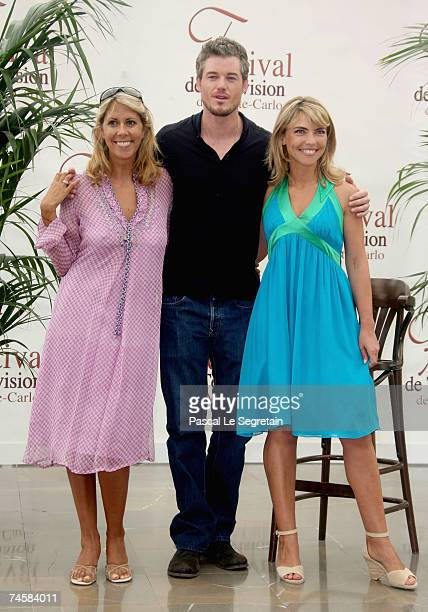 TV presenter Rachel Bourlier actors Eric Dane and Nathalie Vincent attend a photocall on the third day of the 2007 Monte Carlo Television Festival...