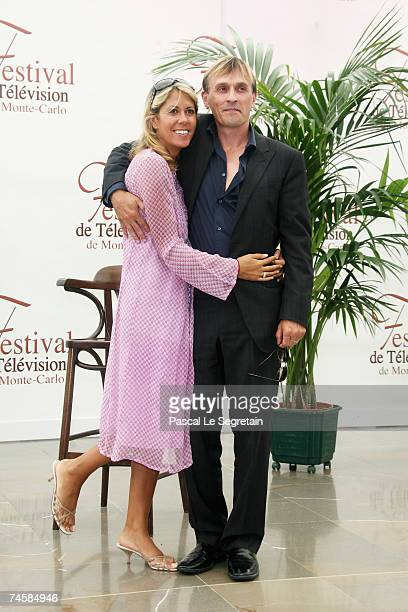 TV presenter Rachel Bourlier and actor Robert Knepper attend a photocall on the third day of the 2007 Monte Carlo Television Festival held at...