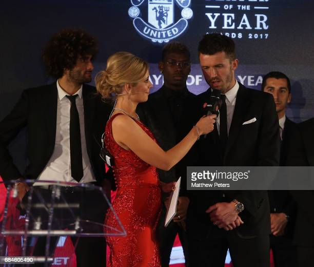 Presenter Rachel Riley interviews Michael Carrick at the Manchester United annual Player of the Year awards at Old Trafford on May 18 2017 in...