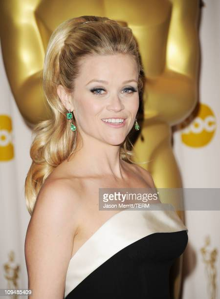 Presenter Reese Witherspoon poses in the press room during the 83rd Annual Academy Awards held at the Kodak Theatre on February 27 2011 in Hollywood...
