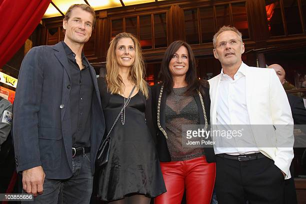 Presenter Reinhold Beckmann and his wife Kerstin and Jens Lehmann and his wife Conny attend the Day of Legends gala Night of Legends at the Schmitz...