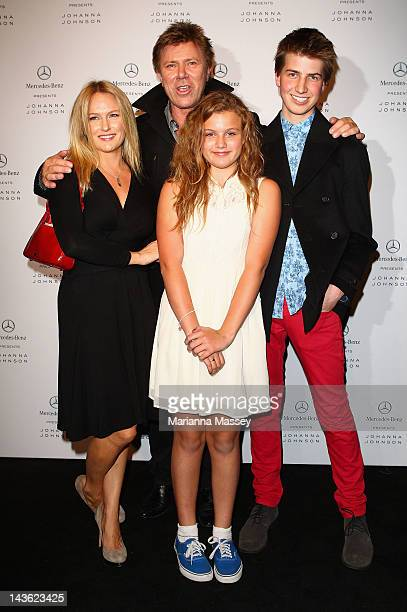 TV presenter Richard Wilkins and his family arrive ahead of the Johanna Johnson show on day two of MercedesBenz Fashion Week Australia Spring/Summer...