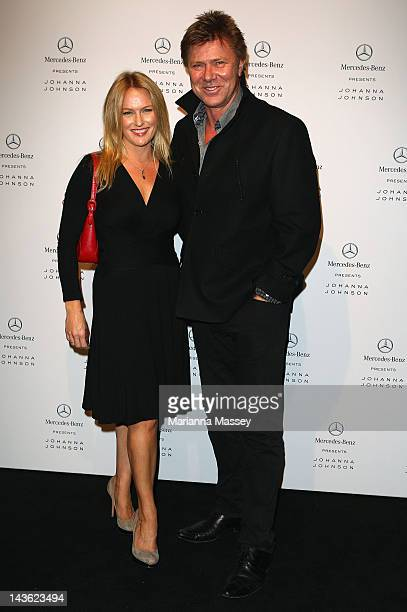 TV presenter Richard Wilkins and his wife Rebecca Naso arrive ahead of the Johanna Johnson show on day two of MercedesBenz Fashion Week Australia...