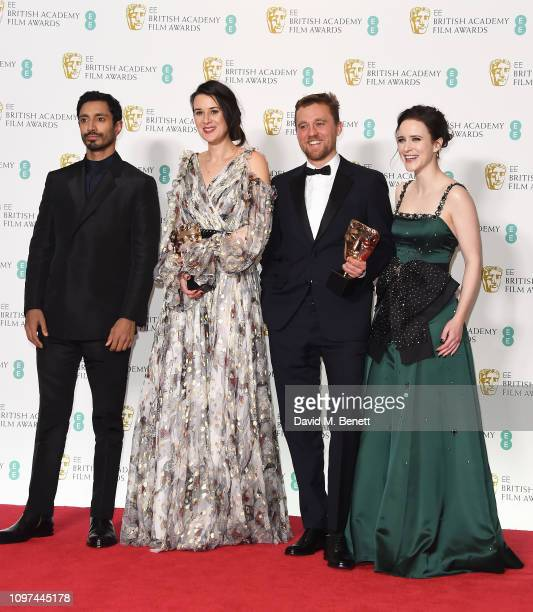 Presenter Riz Ahmed winners of the Outstanding Debut By A British Writer Director or Producer award Lauren Dark and Micheal Pearce and presenter...