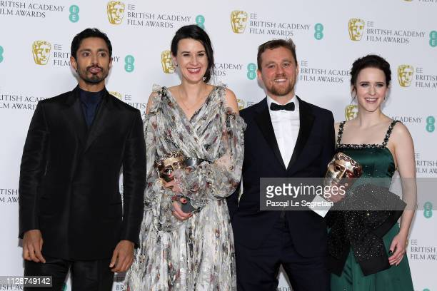 Presenter Riz Ahmed winners of the Outstanding Debut By A British Writer Director or Producer award Lauren Dark and Michael Pearce and presenter...