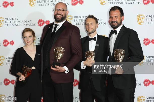 Presenter Rob Delaney poses with winners of Comedy Entertainment Programme Avril Spary Tom Davis and Andy Brereton in the press room at the Virgin TV...