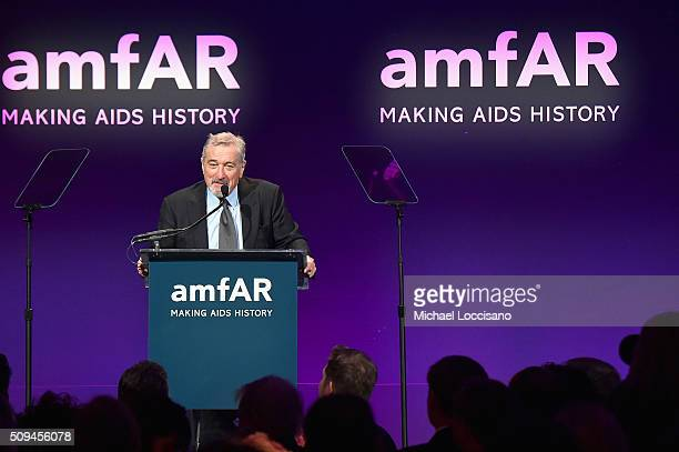 Presenter Robert De Niro speaks onstage during the 2016 amfAR New York Gala at Cipriani Wall Street on February 10 2016 in New York City
