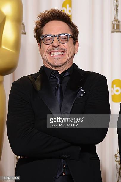 Presenter Robert Downey Jr poses in the press room during the Oscars held at Loews Hollywood Hotel on February 24 2013 in Hollywood California