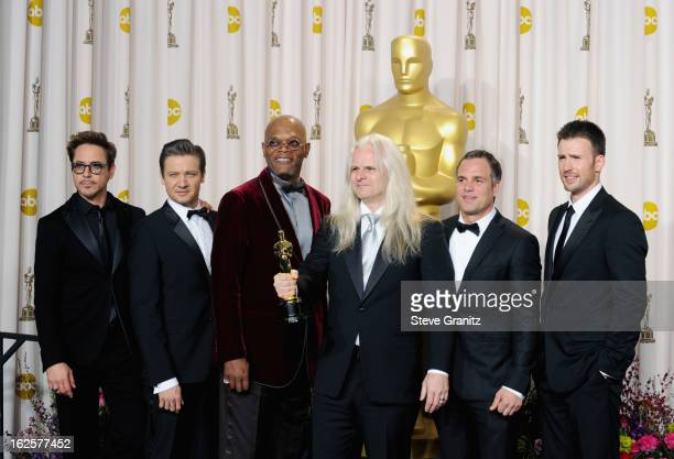 Presenter Robert Downey Jr., presenter Jeremy Renner, presenter Samuel L. Jackson, cinematographer Claudio Miranda, presenter Mark Ruffalo and...