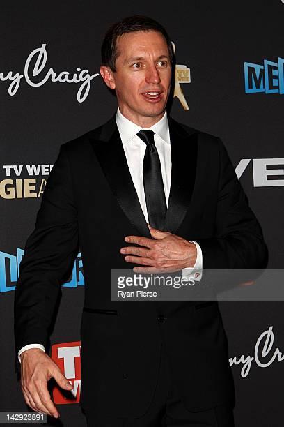 Presenter Rove McManus arrives at the 2012 Logie Awards at the Crown Palladium on April 15 2012 in Melbourne Australia