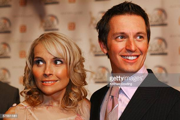 Presenter Rove McManus arrives with wife Belinda Emmett at the 48th Annual TV Week Logie Awards at the Crown Entertainment Complex on May 7 2006 in...