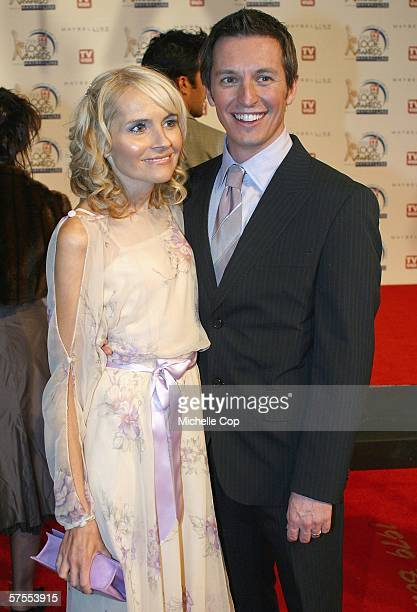 Presenter Rove McManus arrives with wife Belinda Emmett at the 48th Annual TV Week Logie Awards at the Crown Entertainment Complex May 7 2006 in...
