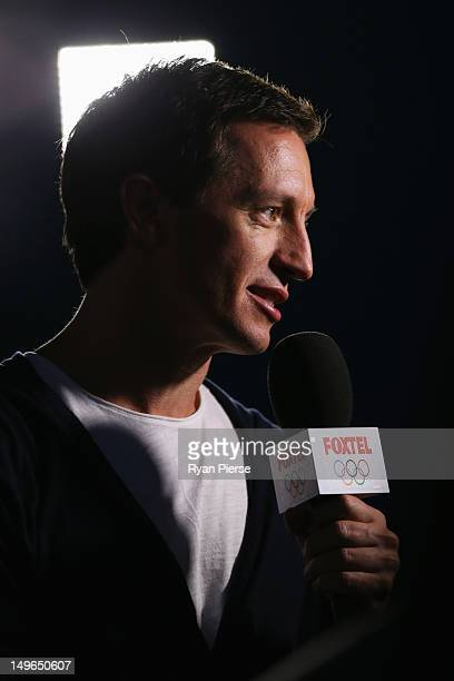 TV presenter Rove McManus looks on during the Men's Beach Volleyball on Day 5 of the London 2012 Olympic Games at Horse Guards Parade on August 1...