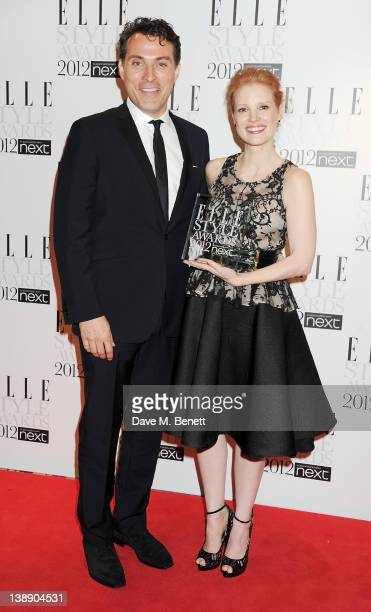 Presenter Rufus Sewell and Next Future Icon winner Jessica Chastain pose in the press room at the ELLE Style Awards at The Savoy Hotel on February 13...