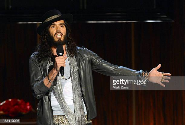 """Presenter Russell Brand speaks onstage at Spike TV's """"Eddie Murphy: One Night Only"""" at the Saban Theatre on November 3, 2012 in Beverly Hills,..."""