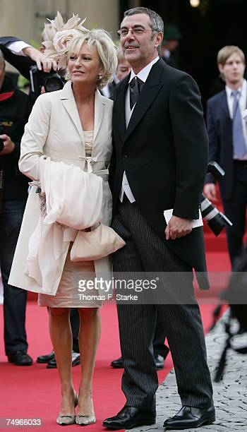 TV presenter Sabine Christiansen and her husband Norbert Medus attend the wedding ceremony of Prince Alexander zu Schaumburg Lippe and Nadja Anna...